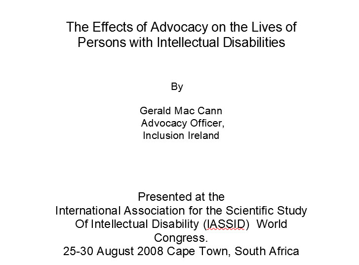 The Effects of Advocacy on the Lives of Persons with Intellectual Disabilities