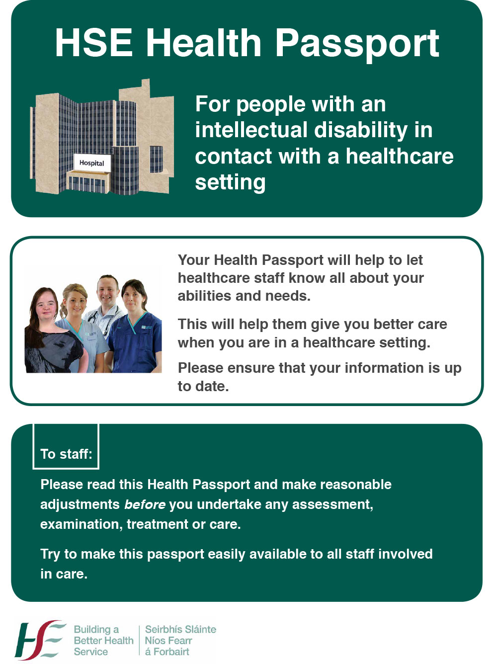 HSE Health Passport – For people with an intellectual disability in contact with a healthcare setting