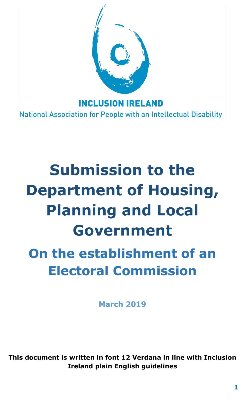 Submission to the Department of Housing, Planning and Local Government On the establishment of an Electoral Commission 2019