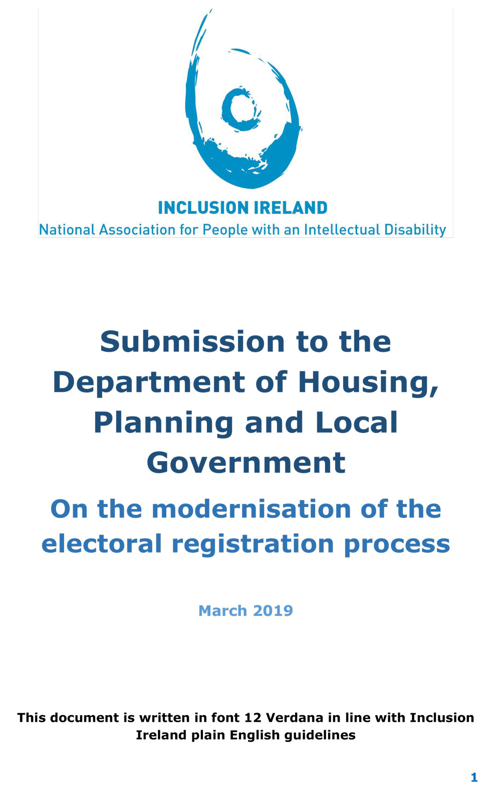 Submission to the Department of Housing, Planning and Local Government on the Modernisation of the Electoral Registration Process 2019