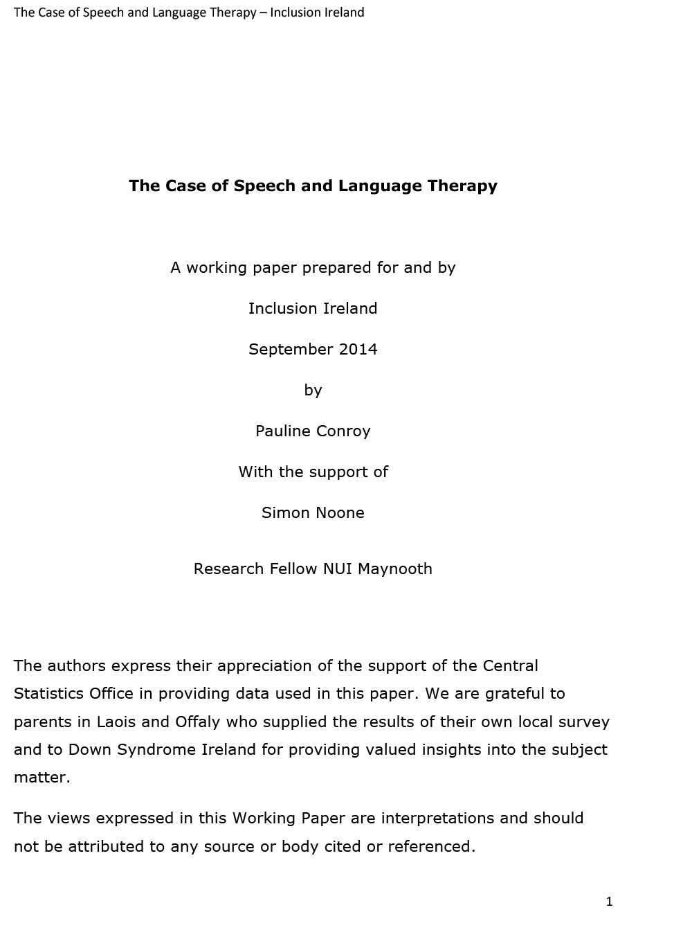 The Case for Speech and Language Therapy – SLT Provision for Children with Additional Needs