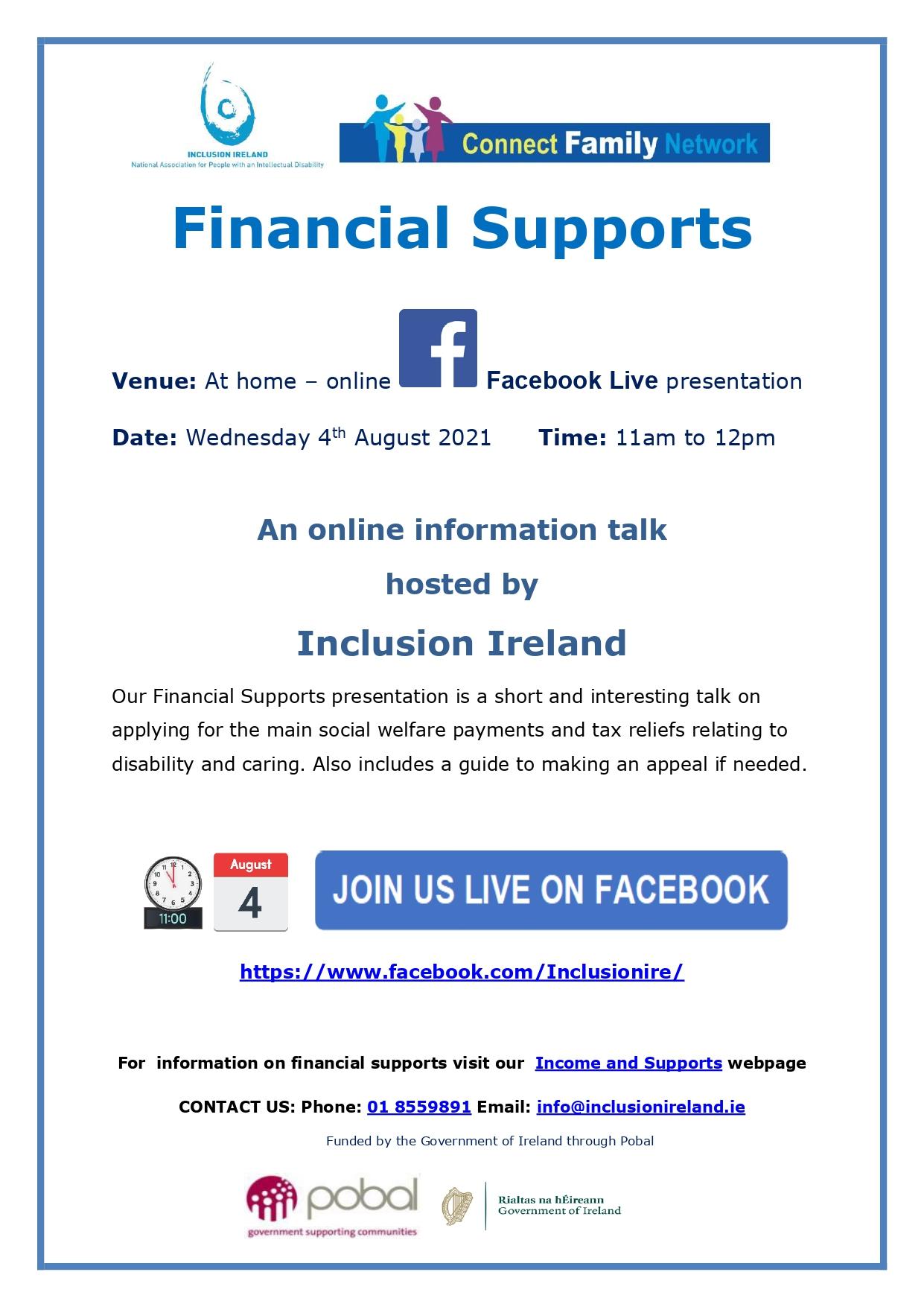 Financial Supports – Online Information Talk